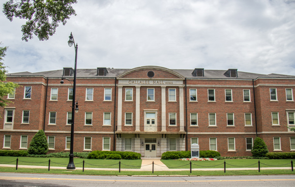 front of Gallalee Hall, a large brick building