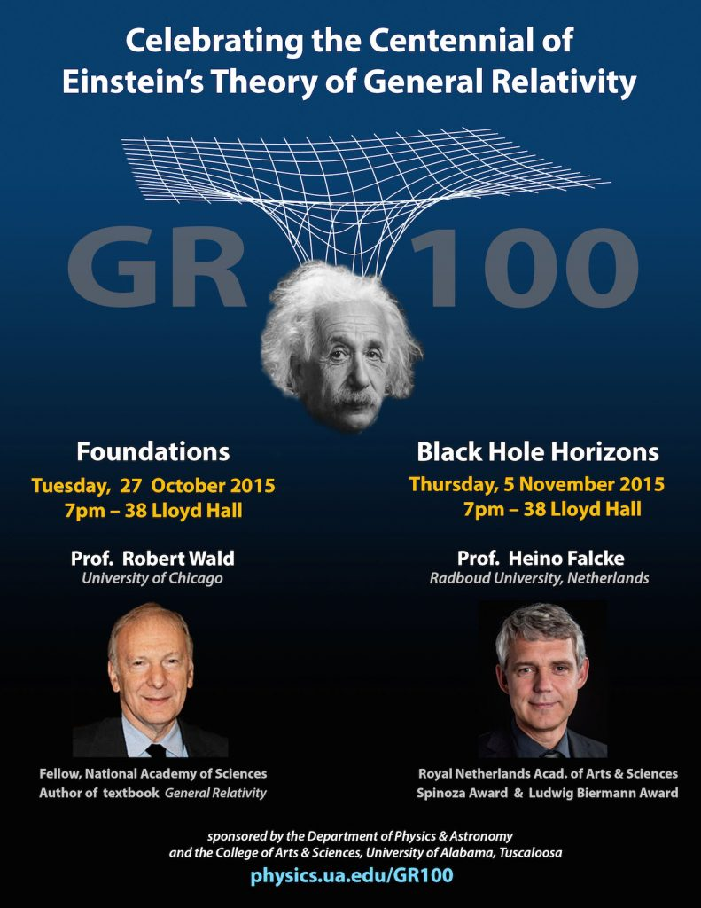 Poster for the Department of Physics and Astronomy's General Relativity Centennial Celebration