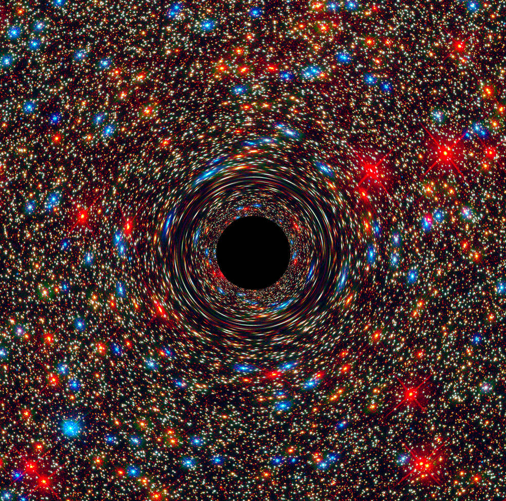 a supermassive black hole (computer-generated image)
