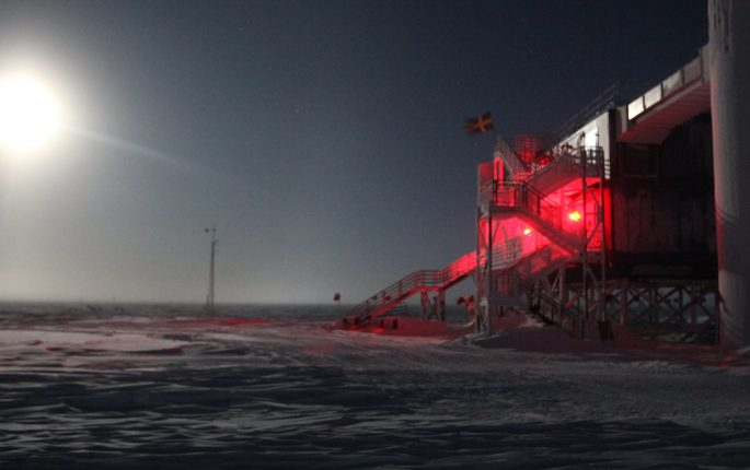 the ICE Cube Laboratory in Antarctica, seen at night.