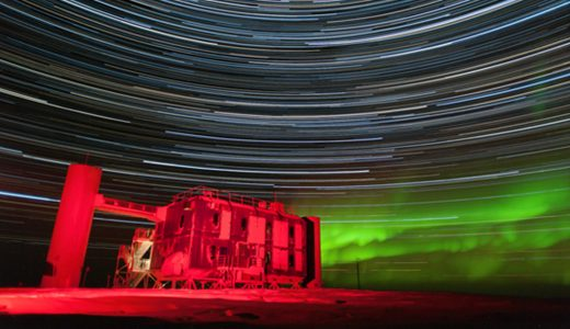 The Ice Cube Lab with star trails