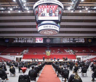 graduation ceremony in Coleman Coliseum